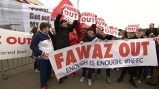 Nottingham Forest fans have staged a protest outside the City Ground.