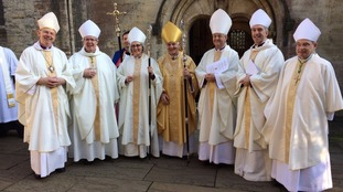 Joanna Penberthy with the other serving Welsh bishops.