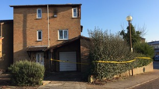 The fire-damaged house at Bradwell Common in Milton Keynes has been sealed off.