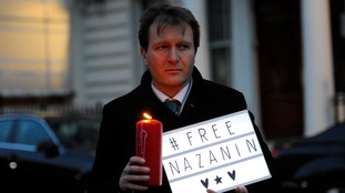 Richard Ratcliffe takes part in vigil outside the Iranian Embassy in London
