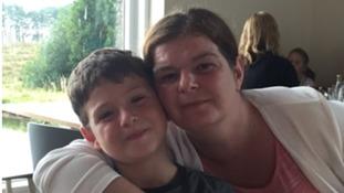 Lewis Rhys Jones and his mother Elen