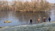 Don't step on the ice! Children warned after being spotted on frozen lake