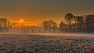 A frosty sunrise at Leagrave Park in Luton.