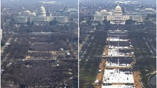 Crowd on the National Mall at the inaugurations of Obama, left, and Trump