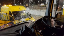 Narrow escape as heavy object thrown at gritting lorry from bridge