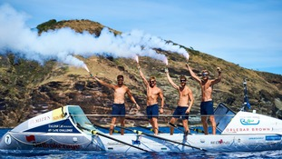 The Row for James team in Antigua's English Harbour