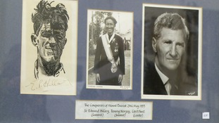 An autograph from Sir Edmund Hillary features in the collection