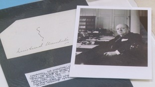 Autograph of former Prime Minister Sir Winston Churchill