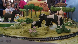 The concrete cows made an appearance too