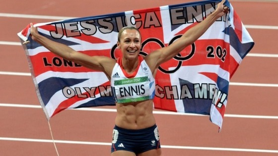 Jessica Ennis celebrating after securing her gold in the women&#x27;s heptathlon