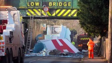 Photo of lorry bridge crash in Sutton Coldfield