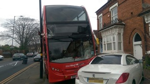 Lucky escape for passengers as bus crashes into car
