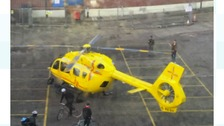 The air ambulance has landed in the centre of Norwich