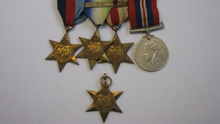 Four of the medals are court mounted and the other is a single medal
