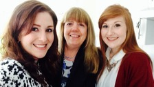 Daughters Lauren and Rachael Hessey (left and right) with Mother Carrol (middle)