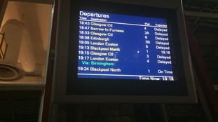 Train timetable at Carlisle station on Monday evening.