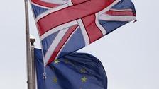 Union Jack pictured next to the European Union flag
