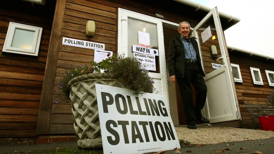 Local people leave a Polling Station in Kent, as voters go to the polls to elect England and Wales&#x27;s first Police and Crime Commissioners.