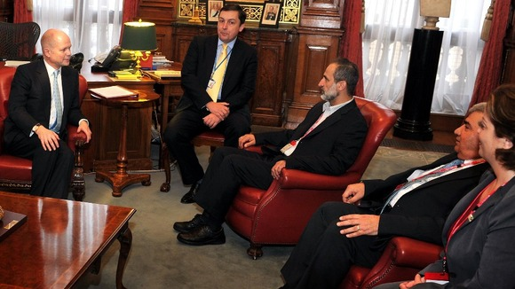 William Hague with President Sheikh Ahmed Mu'az Al-Khatb (third right) of the Syrian opposition movement, and Suheir Atassi (far right).