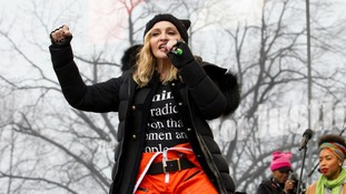Madonna protested along with celebrities including Julia Roberts, Scarlett Johansson, Cher, Alicia Keys, Katy Perry and Emma Watson.