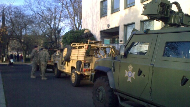 Soldiers and military vehicles begin to gather at Civic Centre ahead of today's parade