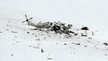 Wreckage from the helicopter crash