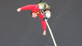Private Scott Meenagh is said to have become the first double amputee to complete a bungee jump in Scotland.