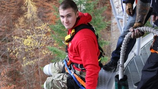 Private Scott Meenagh, who lost both his legs while on duty in Afghanistan last year, completes a 40-metre bungee jump in Scotland.