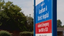 A sign outside Grantham Hospital