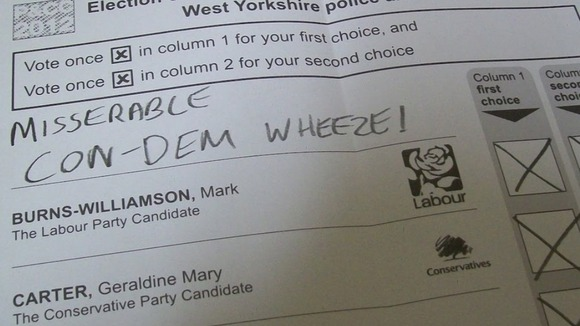 Spoilt ballot paper in West Yorkshire