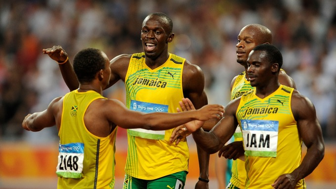 The Jamaican relay team set a new world record at the time