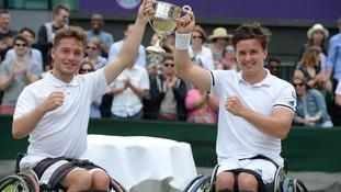 Alfie Hewett and Gordon Reid celebrate their win at Wimbledon last year.