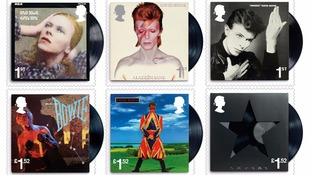 Six of the 10 special David Bowie stamps