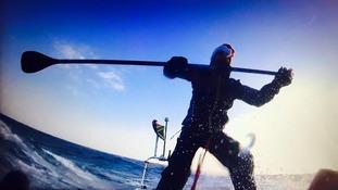 Chris Bertish's SUP in the mid-Atlantic