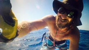 Chris Bertish on his SUP in the mid-Atlantic