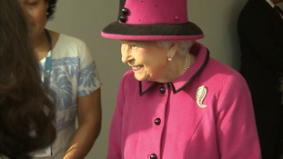 Happy to be here - the Queen tours the Sainsbury Centre in Norwich.