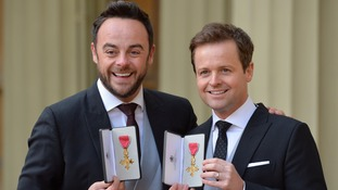 Ant and Dec 'chuffed to bits' after being awarded OBEs by Prince Charles