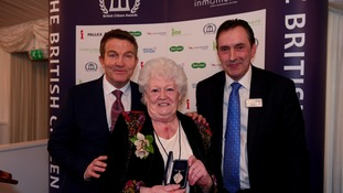Beryl Parker with celebrity Bradley Walsh and Pat Egan from Places for People