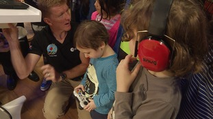 Tim Peake meets local schoolchildren at the opening of the new STEM centre at Airbus in Stevenage.