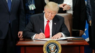 The US president signed an executive order for border security on Wednesday.