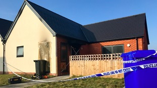 The scene of the fire at Reid Close in Ipswich.