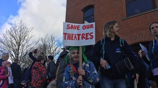 Hundreds march against Devon theatre closures