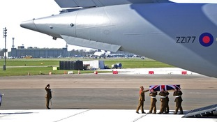 Repatriation of Captain Rupert William Michael Bowers of the 2nd Battalion The Mercian Regiment at RAF Brize Norton in Oxfordshire.