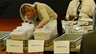 Ballot boxes for the position of Police and Crime Commissioner in Humberside are counted.