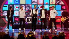 Zayn Malik, Niall Horan, Liam Payne, Harry Styles and Louis Tomlinson of boyband One Direction perform on Friday night.