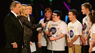 Sir Terry Wogan, Fearne Cotton and Matt Baker live on stage with The Rickshaw Challenge team.