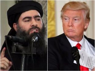 IS leader al-Baghdadi and US president Donald Trump