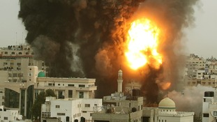 Explosions and smoke are seen after Israeli strikes in Gaza City.