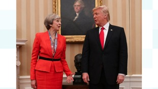 Prime Minister Theresa May meeting US President Donald Trump in the Oval Office of the White House in Washington DC,