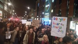 Campaigners march in Leeds